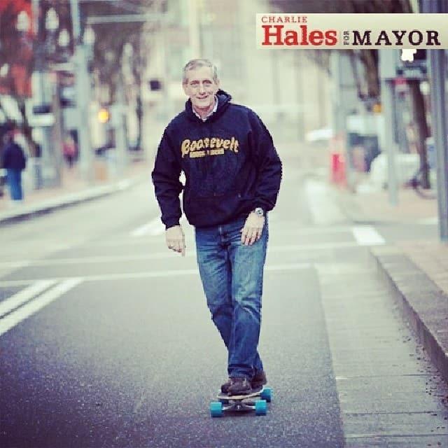 Mayor Charlie Hales using the skate lane.