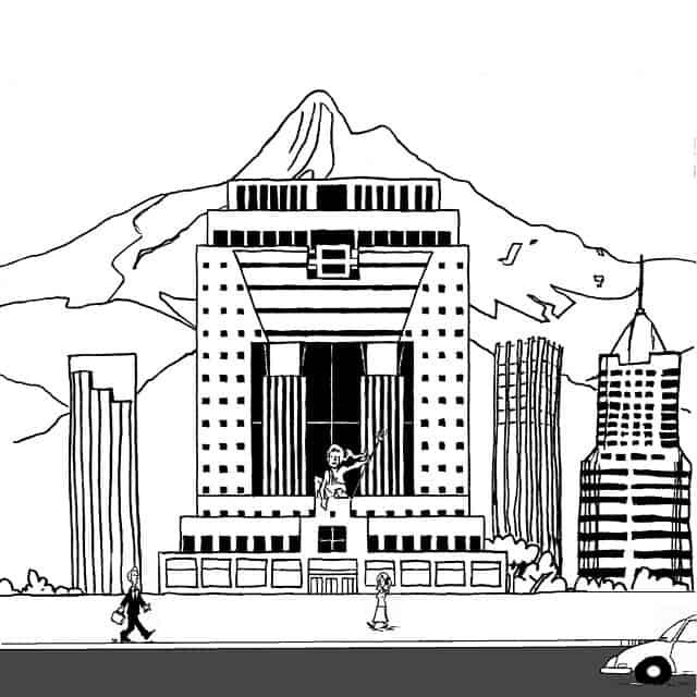 Black and white digital drawing of Portlandia