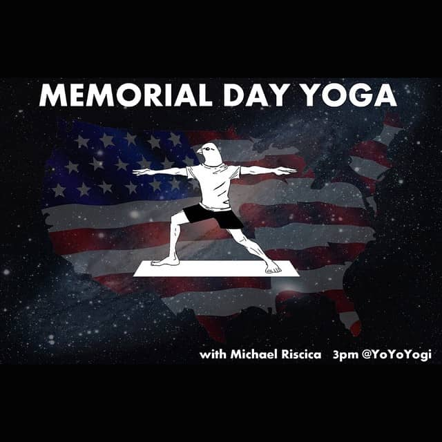 Memorial Day Yoga poster with Mike Riscica