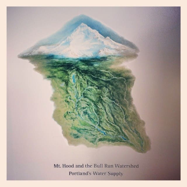 Painting of mount hood and the bullrun watershed