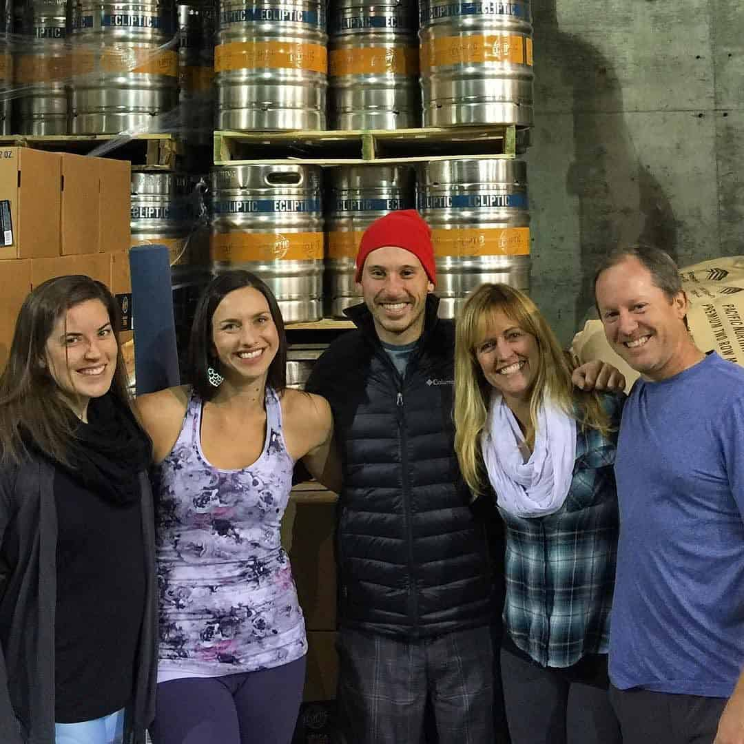 Group of people inside brewery