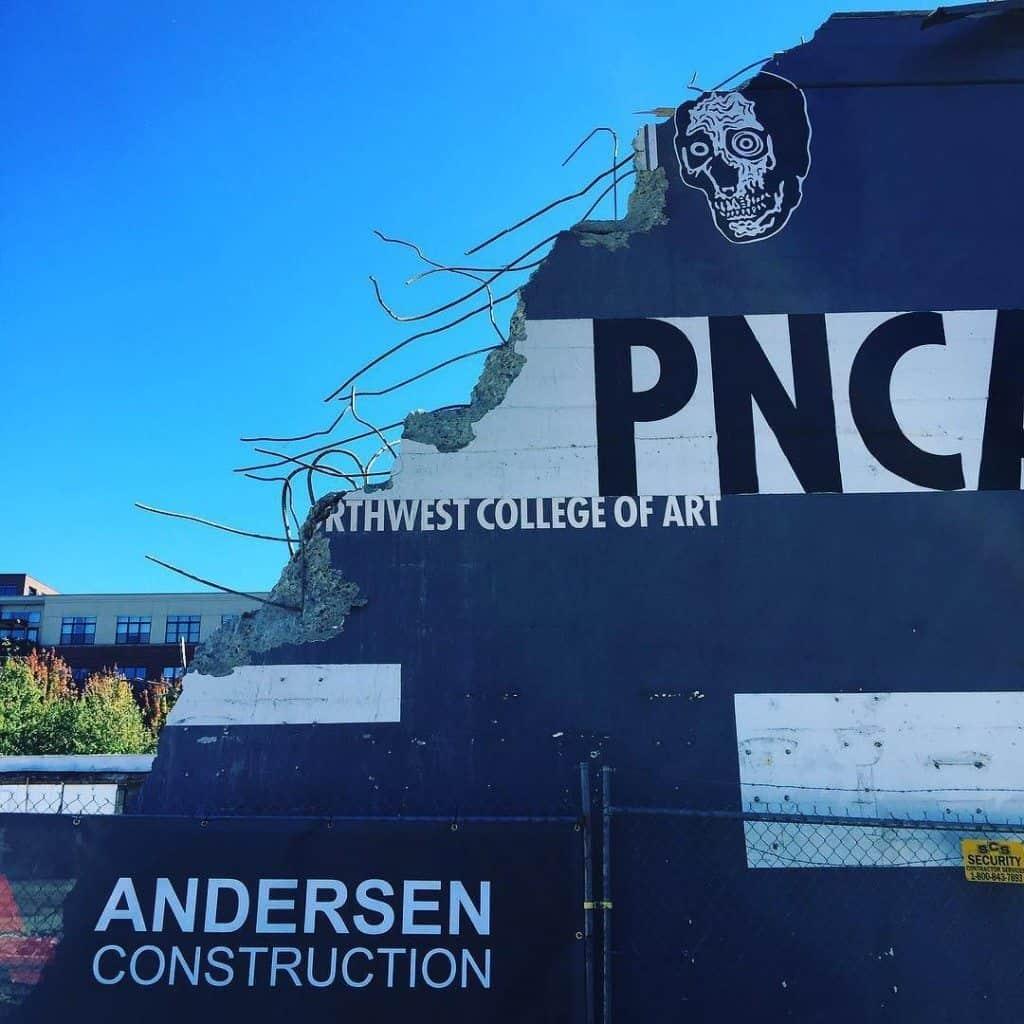 Art? #pnca #portlandarchitecture #pdxpioneer #arrexskulls #rebar #concrete