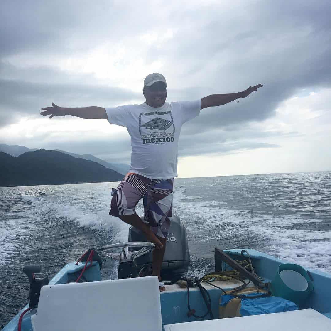Man having fun on a boat